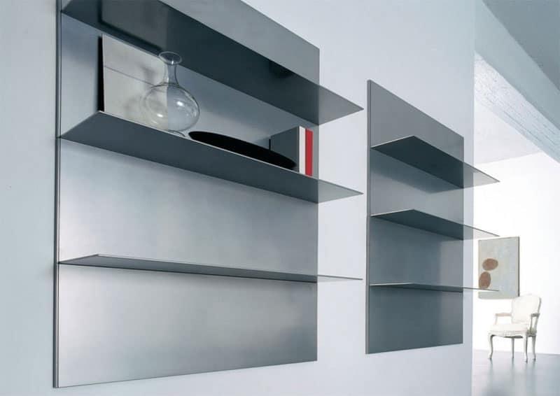 Mensole lineari per salotto e libreria in alluminio for Mensole libreria