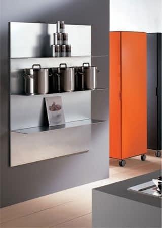 ALL comp.03, Ripiani in alluminio per cucina, in stile lineare