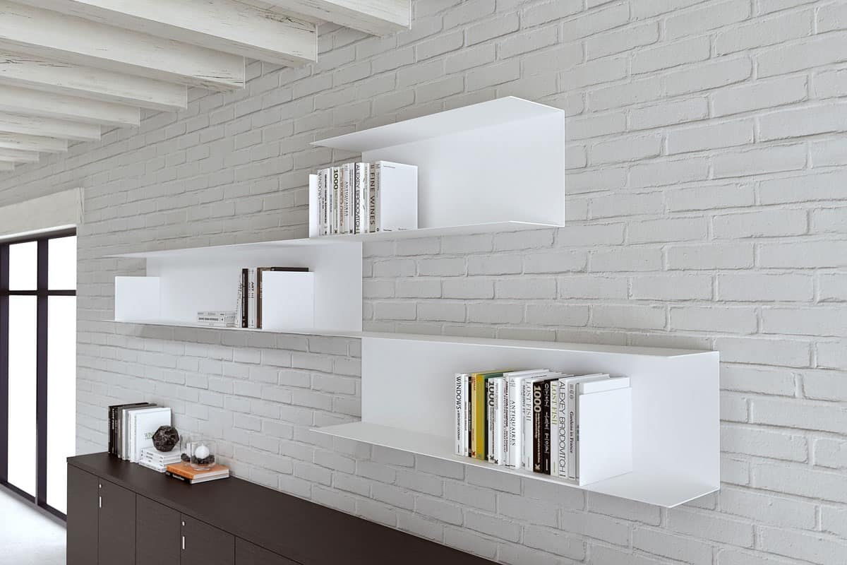 Libreria modulare in acciaio per la casa e l 39 ufficio for Mensole in noce