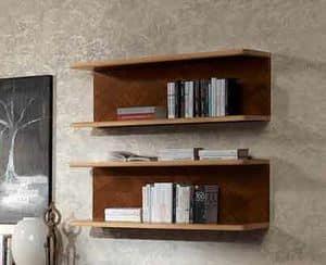 LB40 Desyo libreria, Mensola in noce e acero, per case classiche