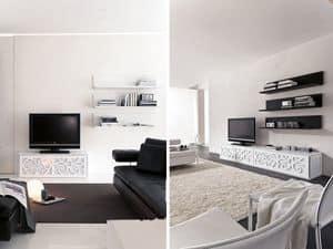 PARIS mensola, Mensola in laminato laccato, per salotti e camere da letto