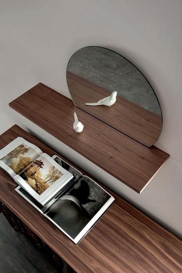 SUNSET mensola, Mensola con specchio e ripiano in legno
