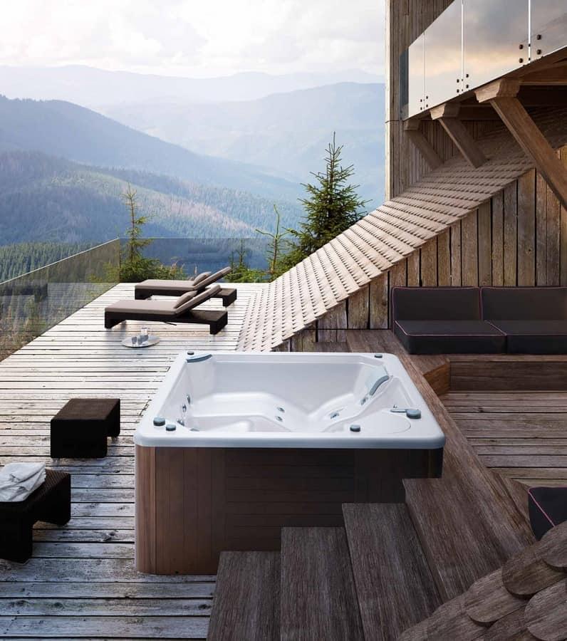 Mini piscina con idromassaggio e cascata cromoterapia idfdesign - Minipiscina da terrazzo ...