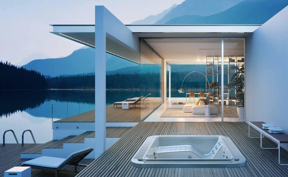 giardino con piscina design esterni : MYSPA OF250/225, Mini piscina a sfioro per esterni, con idromassaggio