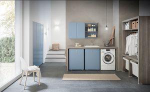 Lime Wash comp.01, Mobili componibili per lavanderia