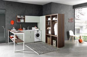 Lime Wash comp.06, Mobile angolare per lavanderia, attrezzato