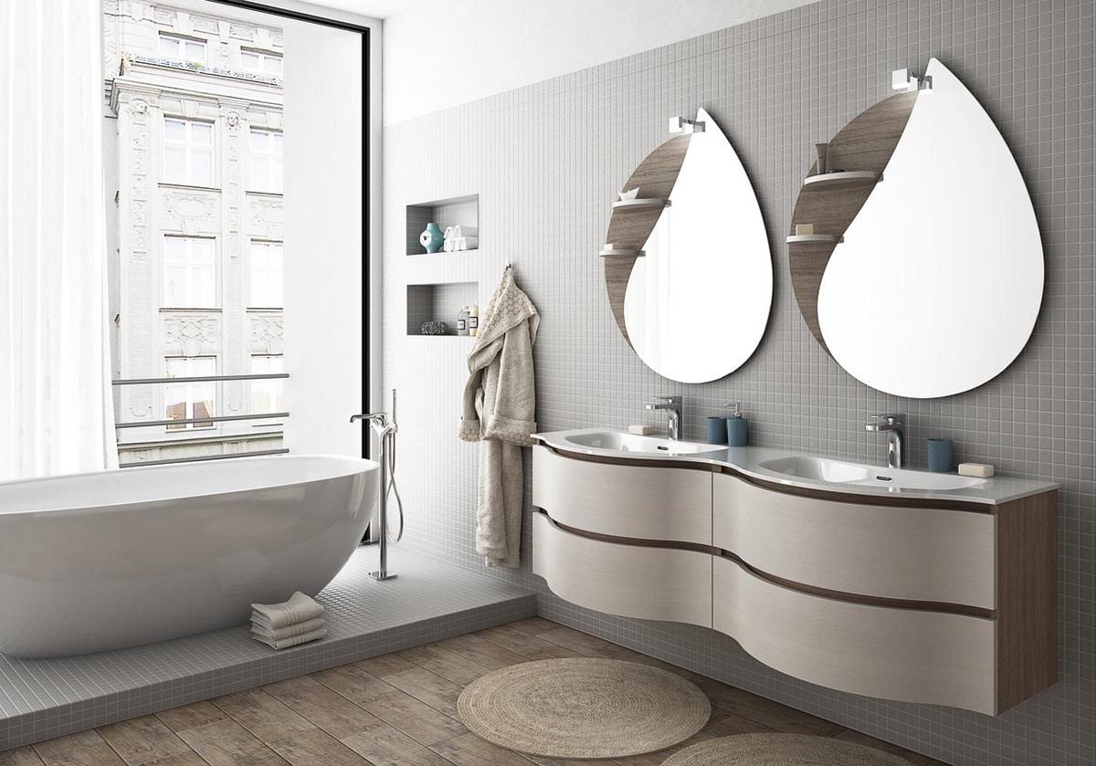 COMPONIBILE 8, Mobile lavabo doppio sospeso con cassetti