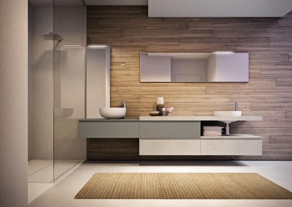 Spazioso mobile da bagno con due lavabi e specchi idfdesign for Prezzi lavabo bagno