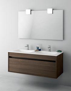 Duetto comp.13, Mobile bagno salvaspazio con doppio lavabo