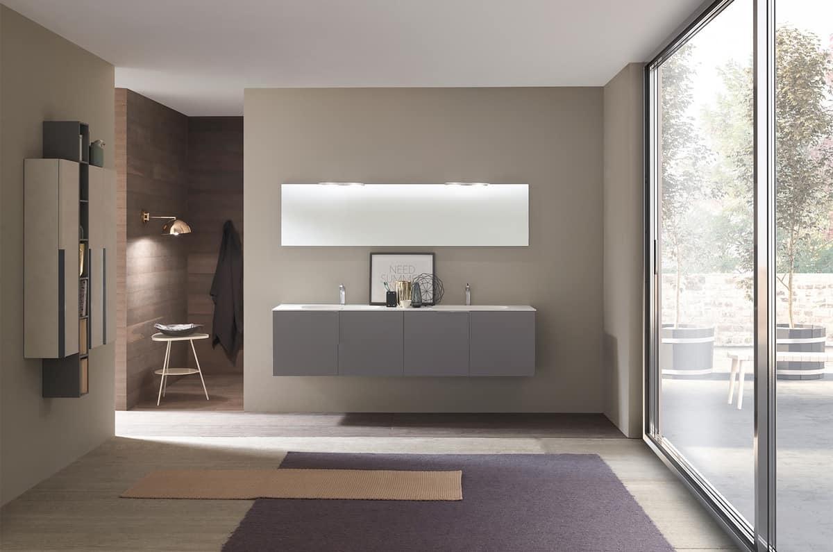 Mobile da bagno con doppio lavabo in ocritech idfdesign - Azzurra mobili da bagno ...