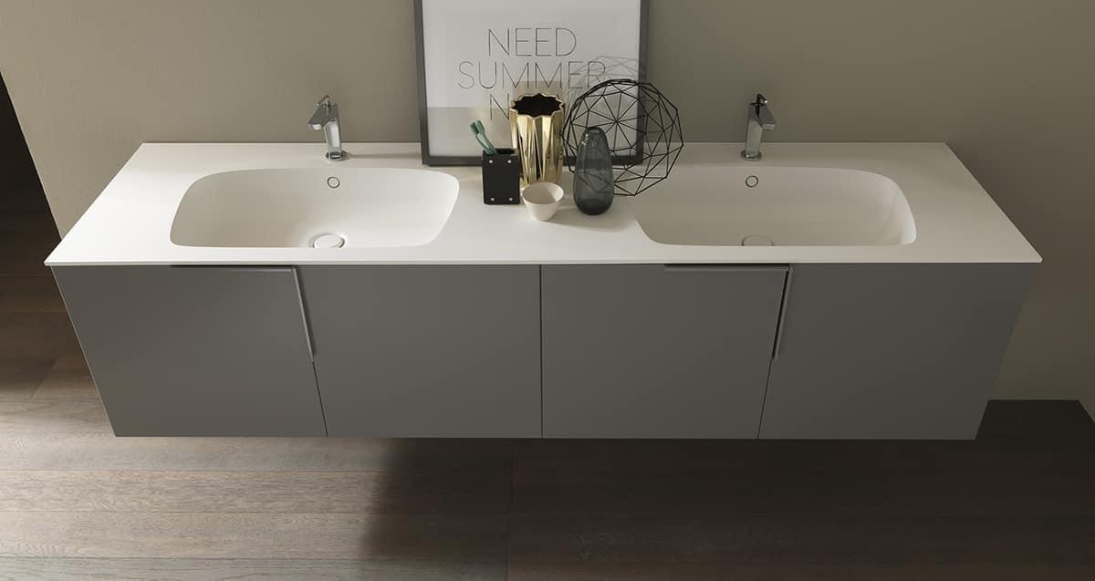 Mobile da bagno con doppio lavabo in ocritech idfdesign - Bagno con doppio lavello ...