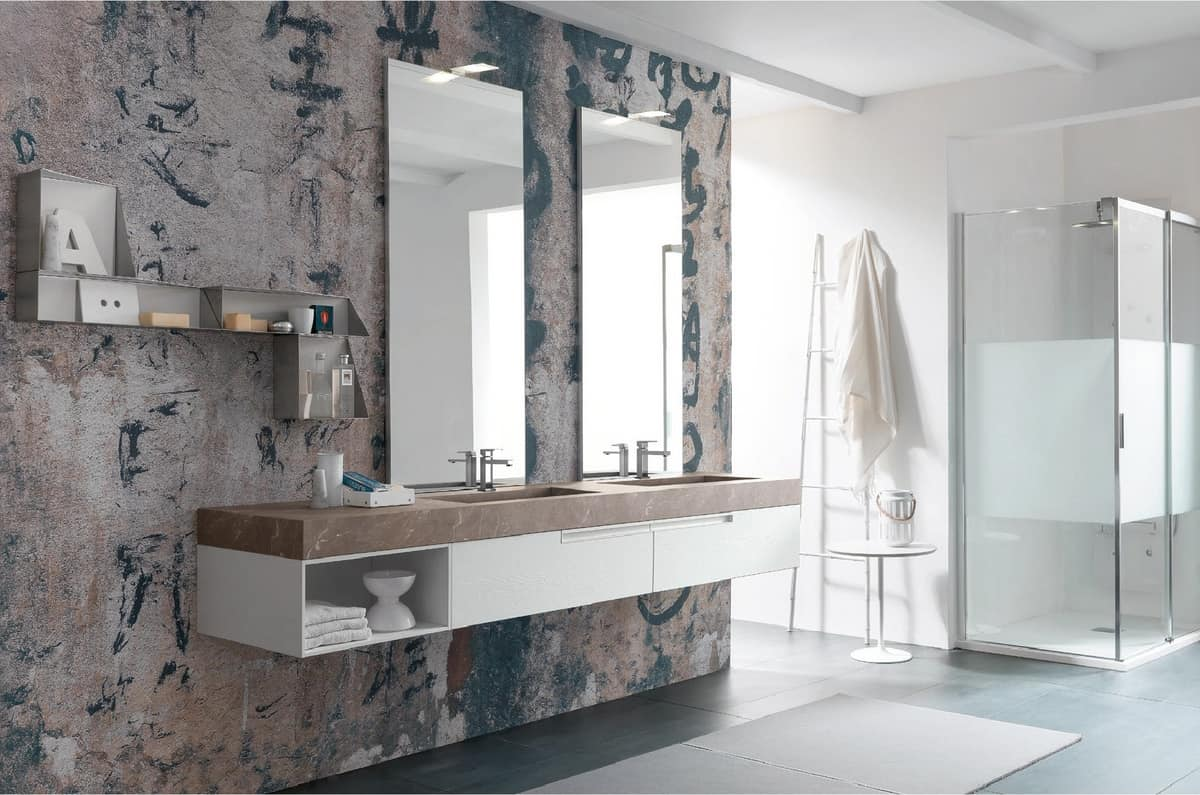 Arredo bagno con due lavabi e specchiere idfdesign for Mobili bagno due lavabi