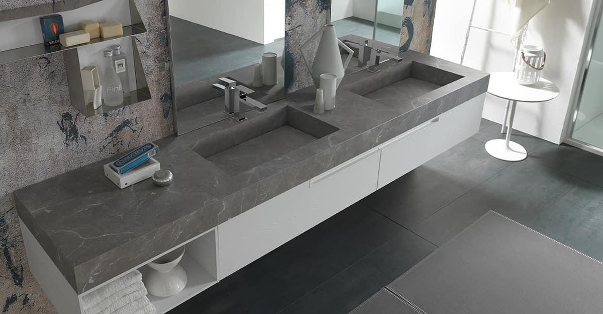Arredo bagno con due lavabi e specchiere idfdesign for Mobili bagno con due lavabi