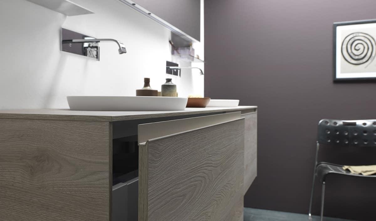 Mobile da bagno con doppio lavabo da appoggio idfdesign - Doppio lavabo da appoggio bagno ...