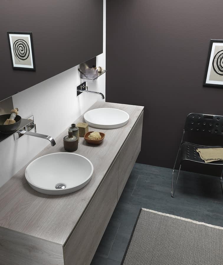Mobile da bagno con doppio lavabo da appoggio idfdesign - Mobile bagno con doppio lavabo ...