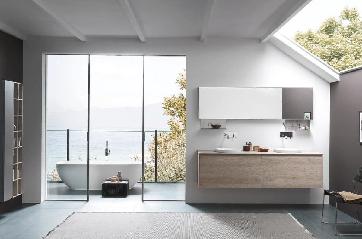 Mobile da bagno con doppio lavabo da appoggio idfdesign - Azzurra mobili da bagno ...