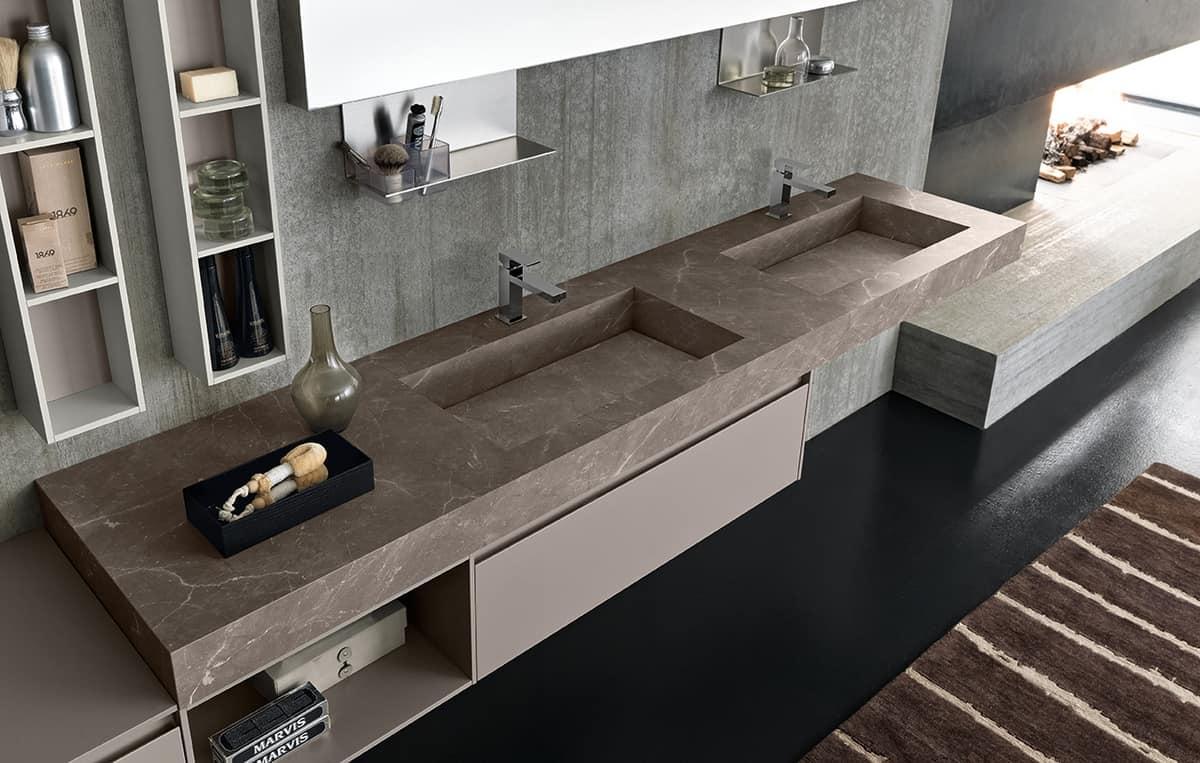 Ampio mobile da bagno con doppio lavabo in hpl idfdesign - Mobile bagno con doppio lavabo ...