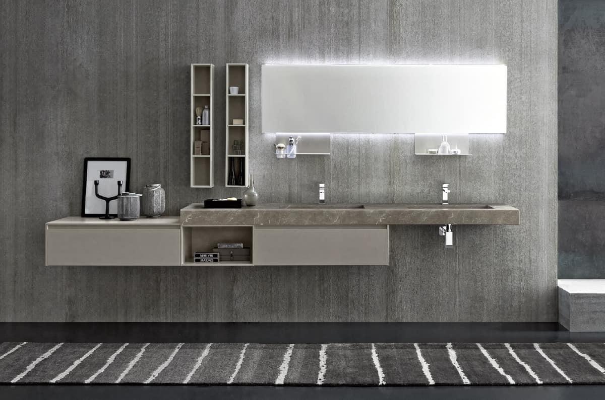 Ampio mobile da bagno con doppio lavabo in hpl idfdesign - Mobili bagno immagini ...