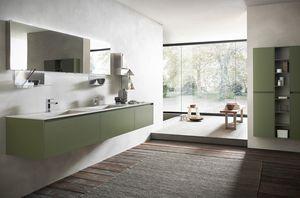 Lime 2.0 comp.17, Arredo bagno con doppio lavabo in gres, finitura verde muschio