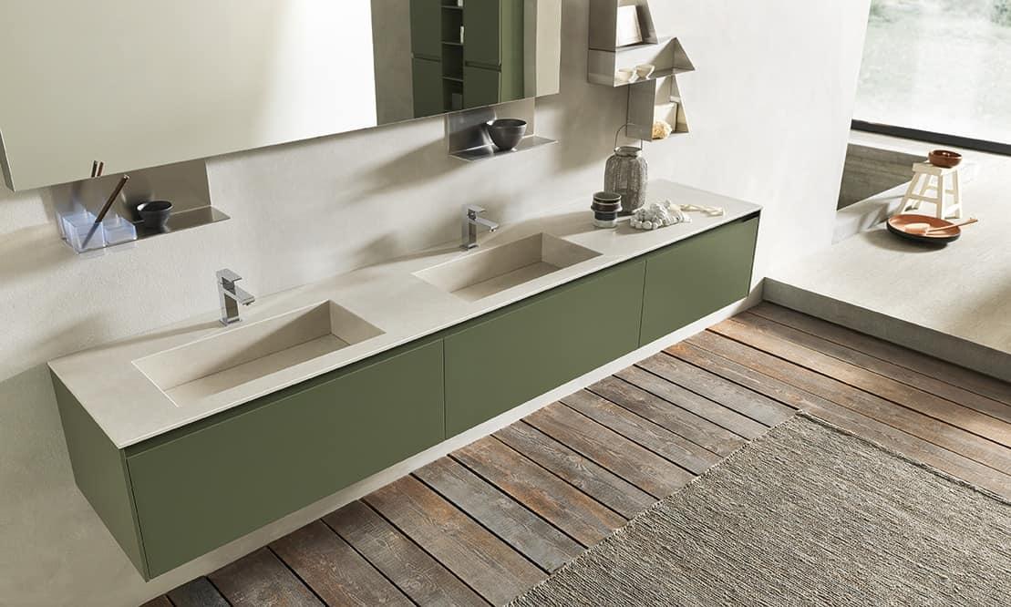 Arredo bagno con doppio lavabo in gres finitura verde muschio