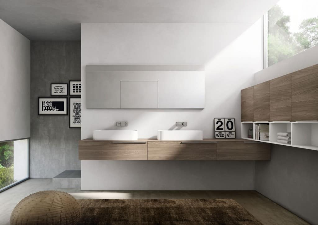 My time comp.07, Mobile da bagno con due lavabi in ceramica