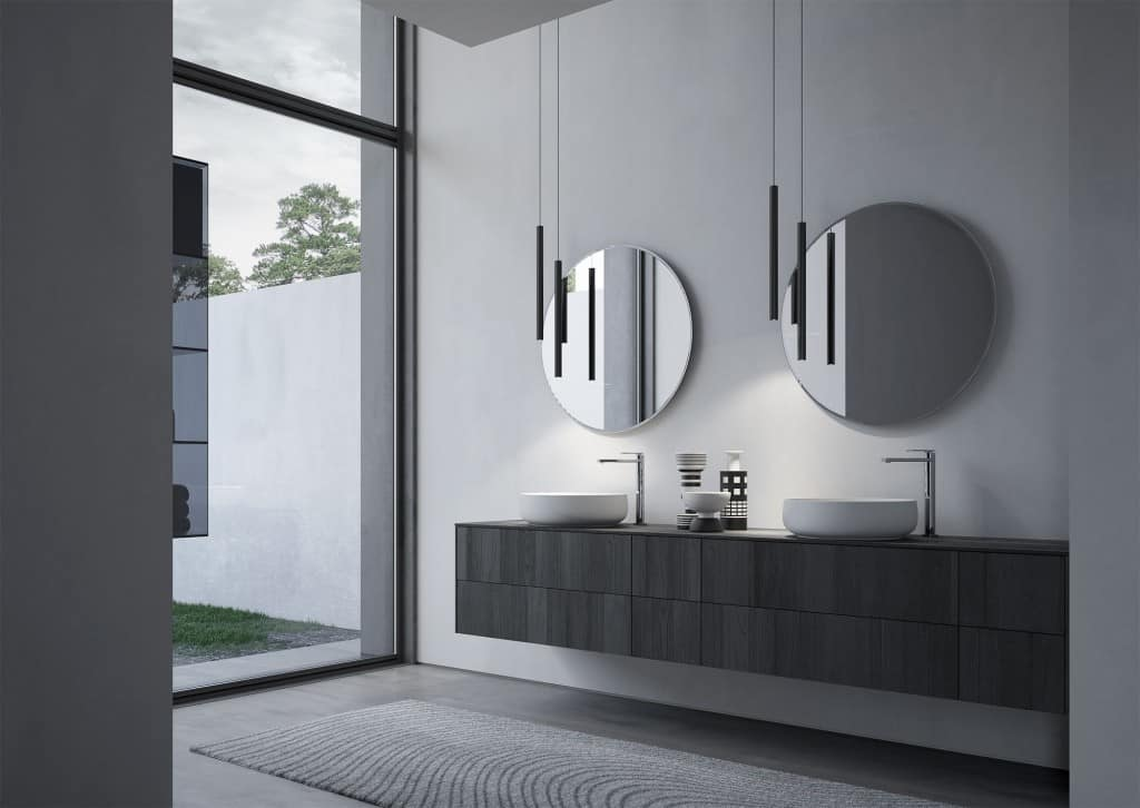 Arredo per bagno con due lavabi tondi in ceramica | IDFdesign