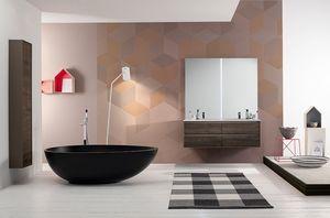 Summit 2.0 comp.09, Mobile da bagno in frassino con doppio lavabo
