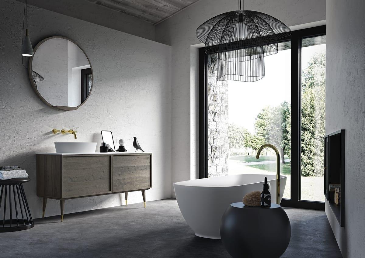 Mobile bagno in rovere con piano in marmo idfdesign