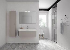 Basic comp.06, Mobile da bagno con lavabo in ceramica, con colonna pensile