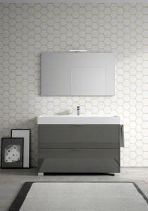 Basic comp.09, Mobile da bagno con ampio lavabo in ceramica