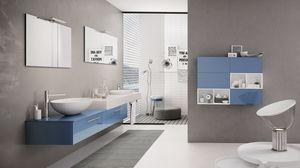 BLUES BL-15, Arredo bagno con mobile blu lucido