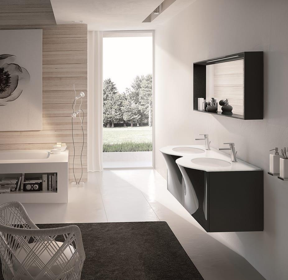 Mobile bagno con doppio lavabo e cassettone estraibile for Cassettone bagno