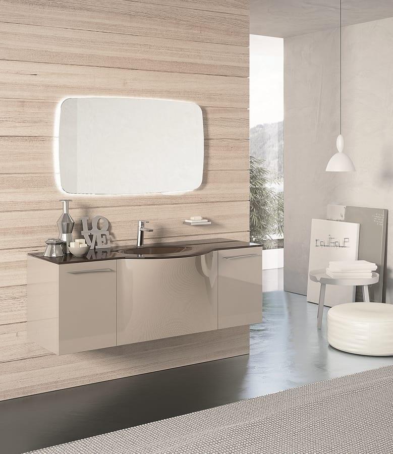 Mobile da bagno tortora chiaro lucido | IDFdesign