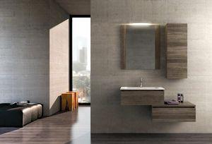 COMPONIBILE 01, Mobile lavabo componibile sospeso in legno