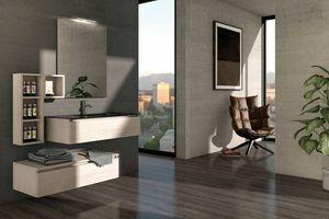 COMPONIBILE 03, Mobile lavabo componibile sospeso in legno
