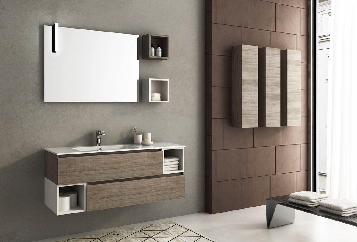Lavabo Con Mobiletto Sospeso : Mobile lavabo sospeso con cassetti idfdesign