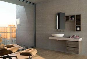 COMPONIBILE 06, Mobile lavabo componibile sospeso in legno