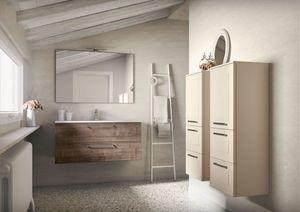 Dressy comp.02, Mobile bagno da parete, con piano dal lavabo integrato