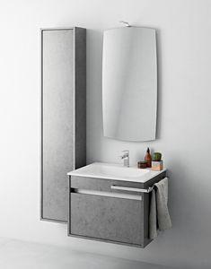 Duetto comp.04, Mobile bagno di piccole dimensioni con colonna