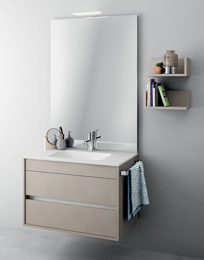 Mobile monoblocco con specchiera per bagni di piccole for Arredo bagno piccole dimensioni