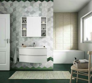 FLEX 02, Mobile bagno sospeso con cassetti con specchio