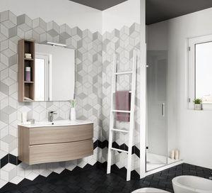 FLEX 03, Mobile bagno sospeso con cassetti con specchio
