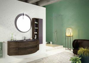 FREEDOM 02, Mobile lavabo singolo sospeso in HPL con specchio
