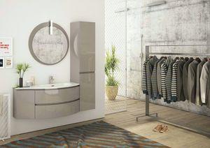FREEDOM 04, Mobile lavabo singolo sospeso in HPL con armadio