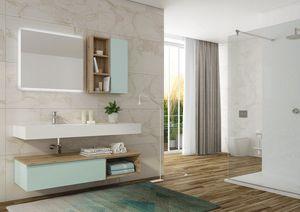 FREEDOM 08, Mobile lavabo singolo sospeso in HPL con specchio