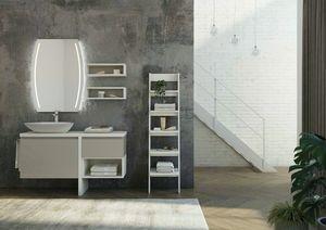 FREEDOM 11, Mobile lavabo laccato singolo in nobilitato con specchio