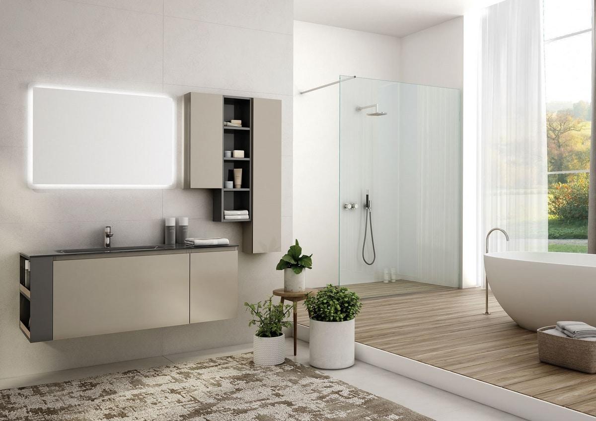 Mobile lavabo sospeso in vetro con specchio idfdesign for Riviste arredo bagno