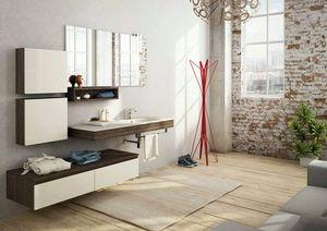 FREEDOM 18, Mobile lavabo singolo sospeso in nobilitato con specchio
