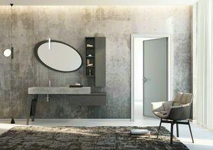 FREEDOM 24, Mobile lavabo singolo in gres porcellanato con ante con specchio