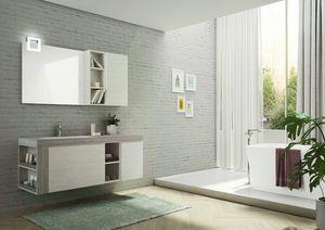 FREEDOM 28, Mobile lavabo singolo sospeso in HPL con specchio